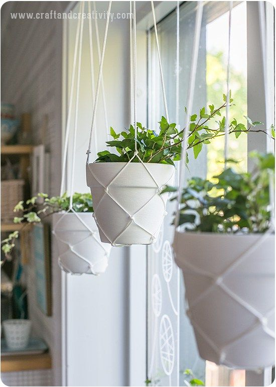Simple macrame hanging planters