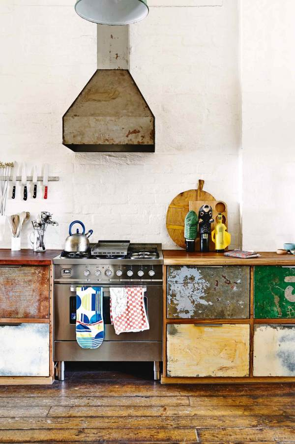 industrial style in a kitchen recycled