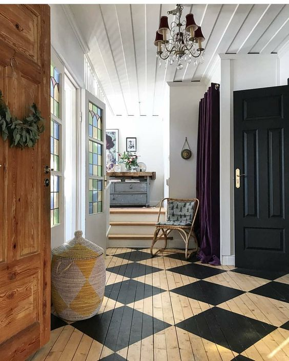 Painted wood floor that renovates a space